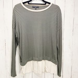 Olive & Cream Striped Layered Long Sleeve Tunic|S